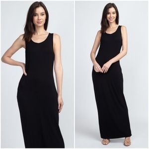 Mila   Solid Black Maxi Dress
